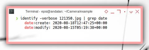 Imagemagick: identity, grep date