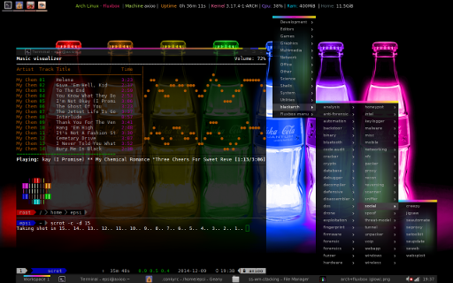arch+fluxbox (glow) +tmux+ncmpcpp+root+scrot