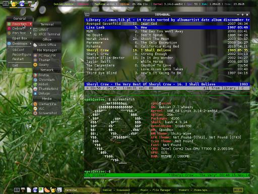 debian+openbox+tint2+conky+tmux+cmus+screenfetch+font(captureit)