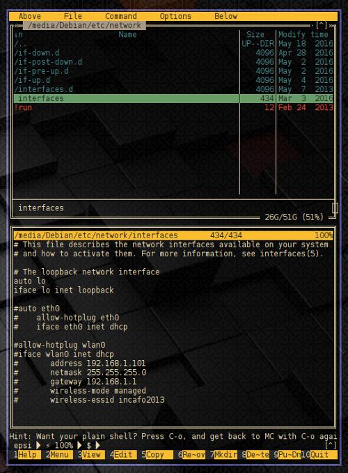 Midnight Commander: debian-etc-network-interfaces