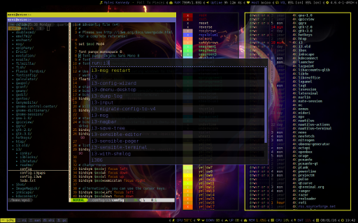 i3-gaps: Conky Lua in dark i3status