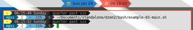 Dzen2 Font and Arrow Example