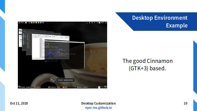 Slide - Customization: DE Example: Cinnamon