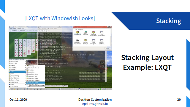 Slide - Layout: Stacking Layout Example: LXQT