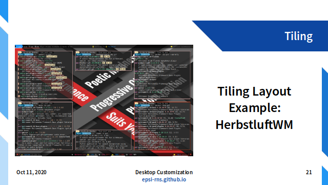 Slide - Layout: Tiling Layout Example: Herbstluftwm