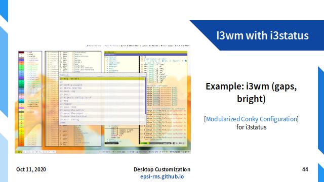 Slide - Tiling: Example i3wm with i3status