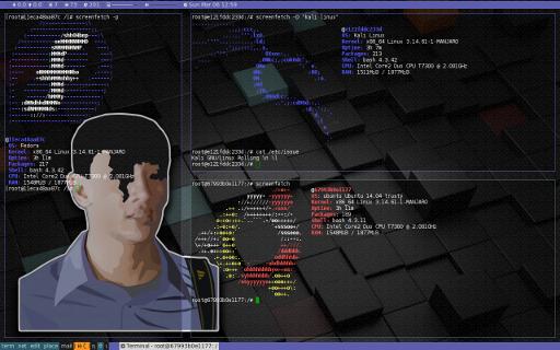 Manjaro Docker Light: xmonad screenfetch (fedora, kali, ubuntu)