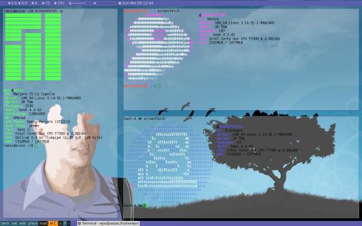 Manjaro Docker Dark: xmonad screenfetch (gentoo, slackware)