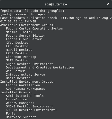 Fedora DNF Group List
