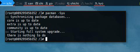 Docker pacman: -Syu