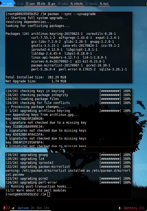 Docker pacman: sysupgrade