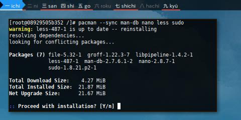 Docker pacman: sync target