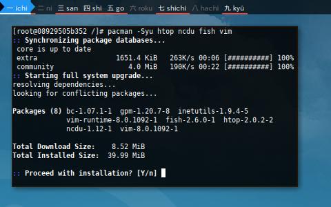 Docker pacman: sysupgrade target
