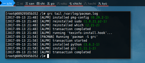 Docker Arch: grc tail /var/log/pacman.log