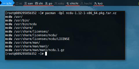 Docker Arch: pacman query file list