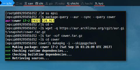 Docker AUR: Cower: Build