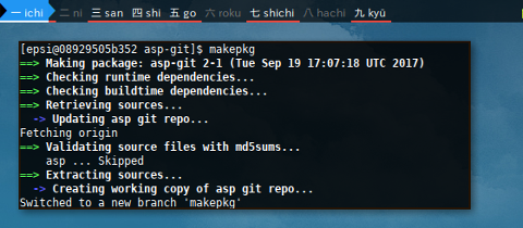 Docker makepkg: asp-git