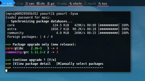 Docker AUR: yaourt -Syua