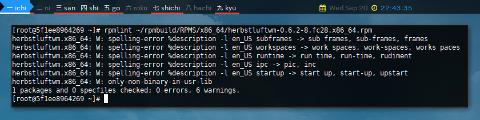 Docker Fedora: rpmlint