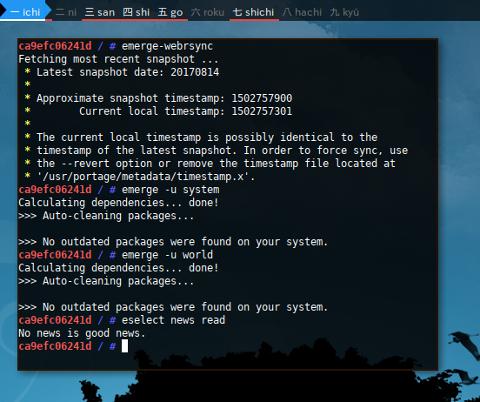 Docker Gentoo: emerge --update