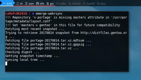 Docker Gentoo: emerge-webrsync