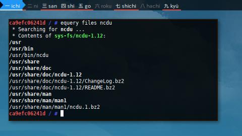 Docker Gentoo: equery files