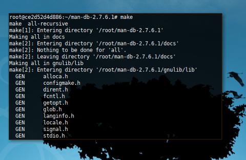 Docker LFS: man: make