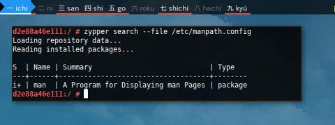 Docker Zypper: Search File