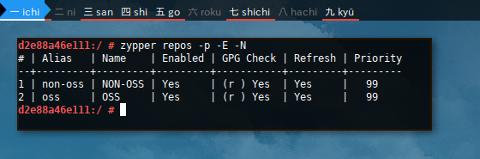 Docker Zypper: Repository -p -E -N