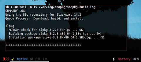 Docker Slackware: sbopkg build log