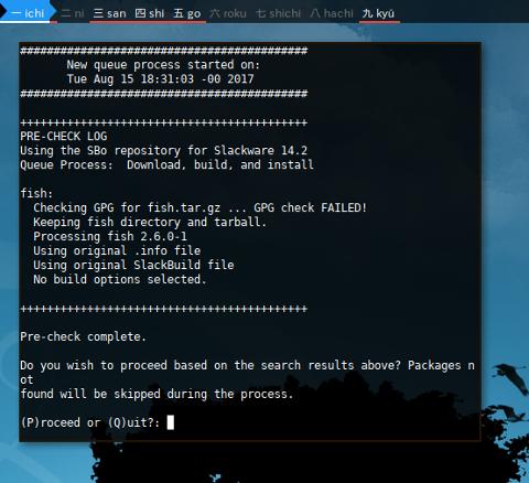 Docker Slackware: Install Fish with sbopkg