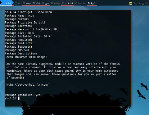 Docker slapt-get: Show Info ncdu