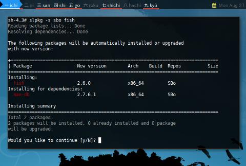 Docker slpkg: Install sbo fish