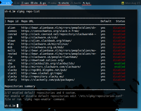 Docker slpkg: Repo List