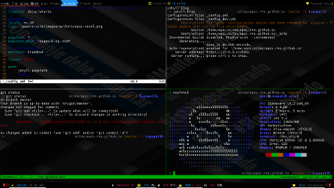 Slackware: teamocil/tmux on herbstluftwm