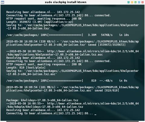 slackpkg: install ktown process