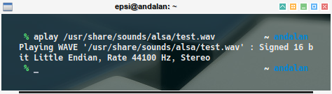 audio: aplay test using wav file