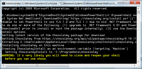 Windows cmd: Chocolatey Setup