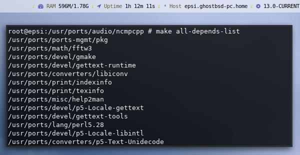 make: all-depends-list